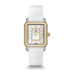 Deco II Two Tone, Diamond Dial White Alligator Watch