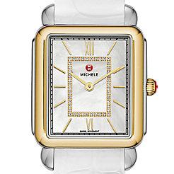 Deco II Two Tone, Diamond Dial White Alligator Watch