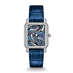 Deco II Bijoux Diamond, Blue Diamond Dial Blue Thin Alligator  Watch