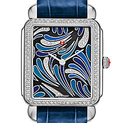 Deco II Bijoux Diamond, Blue Diamond Dial Blue Thin Alligator  Watch