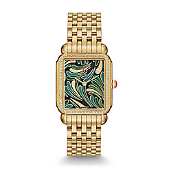 Deco II Bijoux Diamond Gold, Green Diamond Dial Watch