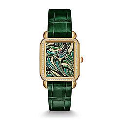 Deco II Bijoux Diamond Gold, Green Diamond Dial Green Thin Alligator Watch