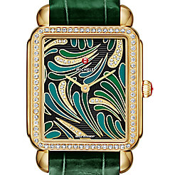 Deco II Bijoux Diamond Gold, Green Diamond Dial Green Thin Alligator Watch