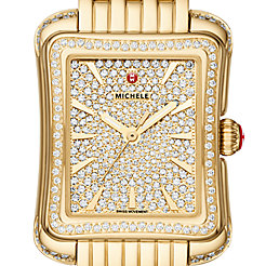 Deco Moderne II Gold Pavé Diamond Watch