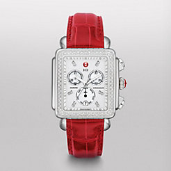 Deco XL Day Diamond, Diamond Dial Garnet Alligator Watch