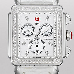 Deco XL Day Diamond, Diamond Dial Silver Alligator Watch