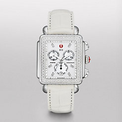 Deco XL Day Diamond, Diamond Dial White Alligator Watch