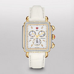 Deco XL Day Diamond Two-Tone, Diamond Dial White Alligator Watch