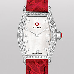 Urban Coquette Diamond, Diamond Dial Garnet Alligator Watch