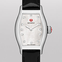 Urban Coquette, Diamond Dial Black Patent Watch