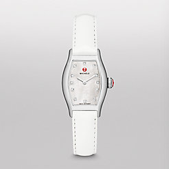 Urban Coquette, Diamond Dial White Patent Watch