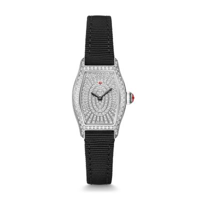 cd2fca8d6 MICHELE® Watches - Coquette Stainless-Steel and Black Grosgrain Pavé ...