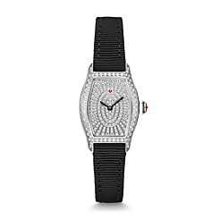 Coquette Stainless-Steel and Black Grosgrain Pavé Diamond Watch