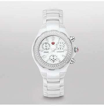 Tahitian White Ceramic Diamond Watch Michele Watches