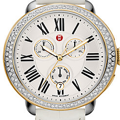 Serein Diamond Two Tone Gold, White Alligator Watch