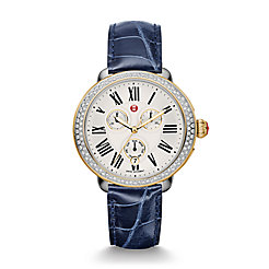 Serein Diamond Two-Tone Navy Alligator Strap Watch