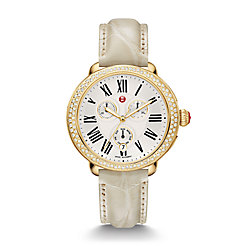 Serein Diamond Gold Bone Alligator Watch