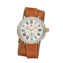 Serein Diamond Two Tone Saddle Calfskin Double Wrap Watch
