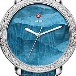 Serein Diamond, Teal Gradient Dial Blue Lizard Strap Watch