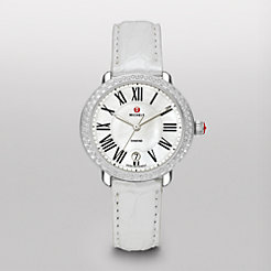 Serein 16 Diamond Silver Alligator Watch