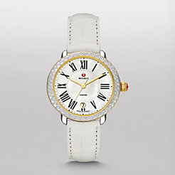 Serein 16 Diamond Two-Tone White Alligator Watch