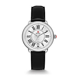 Serein Mid, Diamond Dial Black Patent Watch