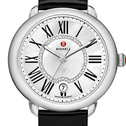 Serein 16, Diamond Dial Black Patent Watch