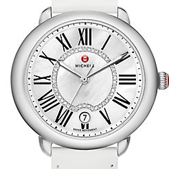 Serein 16, Diamond Dial White Patent Watch