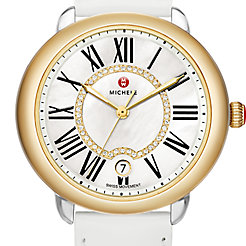 Serein 16 Two-Tone, Diamond Dial White Patent Watch