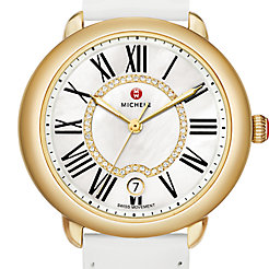 Serein 16 Gold, Diamond Dial White Patent Watch