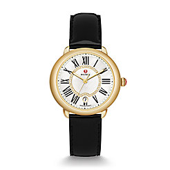 Serein 16 Gold, Diamond Dial Black Patent Watch