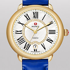 Serein 16 Gold, Diamond Dial Blue Patent Watch