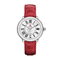 Serein Mid, Diamond Dial Garnet Alligator Strap Watch