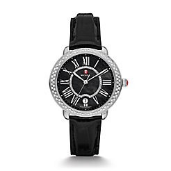 Serein 16 Diamond, Black Diamond Dial Black Alligator Watch