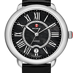 Serein 16, Black Diamond Dial Black Patent Watch