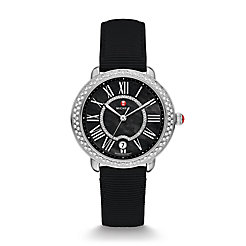 Serein 16 Diamond, Black Diamond Dial Black Grosgrain Watch