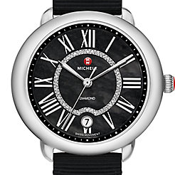 Serein 16, Black Diamond Dial Black Grosgrain Watch