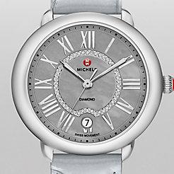 Serein 16, Grey Diamond Dial Pastel Blue Alligator Watch