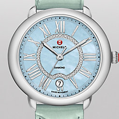 Serein 16, Blue Diamond Dial Pastel Green Alligator Watch