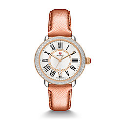 Serein 16 Diamond Two-Tone Rose Gold, Diamond Dial Rose Gold Saffiano Watch