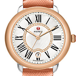 Serein Mid  Two-Tone Rose Gold, Diamond Dial Rose Gold Saffiano Watch
