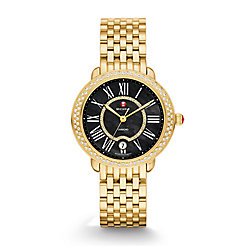 Serein 16 Gold Diamond, Black Diamond Dial Watch