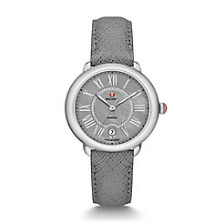 Serein 16, Grey Diamond Dial Grey Saffiano Watch