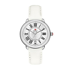 Serein Mid, Diamond Dial Bright White Leather Watch