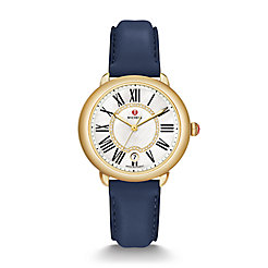 Serein 16 Gold, Diamond Dial Navy Leather Watch