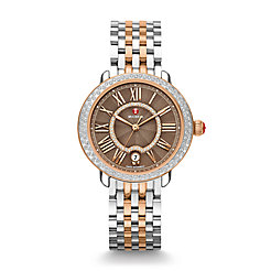 Serein Mid Diamond Two Tone Rose Gold, Cocoa Diamond Dial Watch