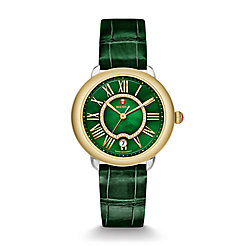 Serein 16 Two-Tone, Green Diamond Dial Green Thin Alligator Watch