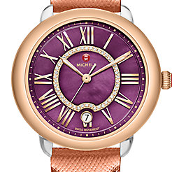 Serein 16 Two-Tone Rose Gold, Purple Diamond Dial Rose Gold Saffiano Watch