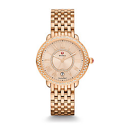 Serein 16 Diamond Rose Gold, Beige Diamond Dial Watch