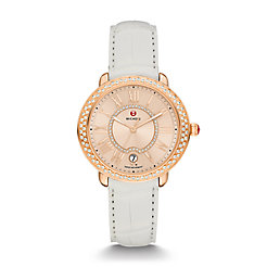 Serein 16 Diamond Rose Gold, Beige Diamond Dial White Alligator Watch